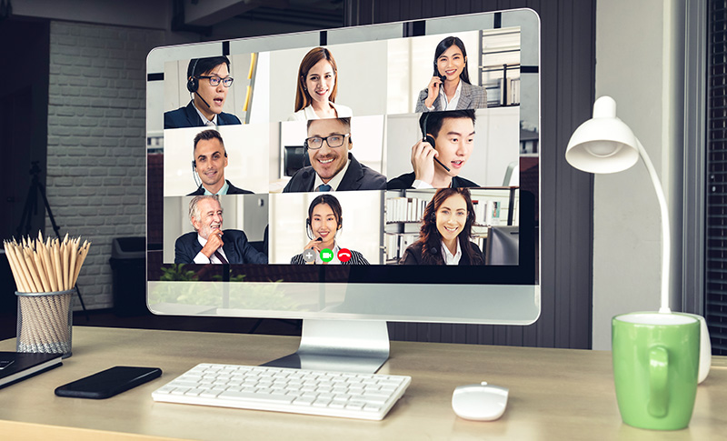 Virtual business training call over Zoom