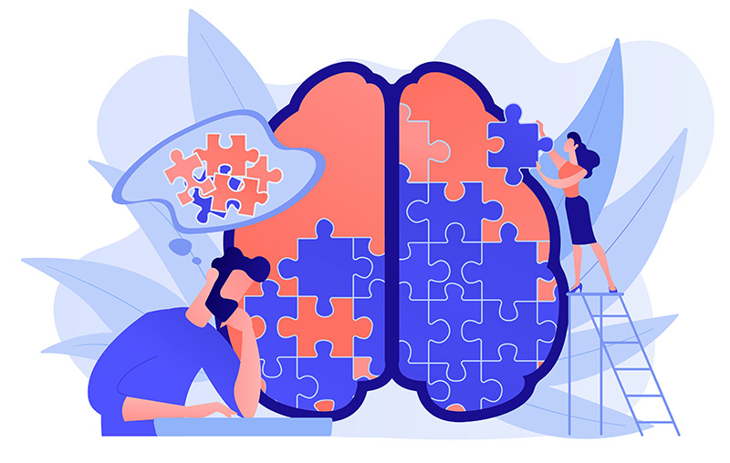 Man doing human brain puzzle. Psychology and psychotherapy session, mental healing and wellbeing, therapist counselling mental illness and difficulties